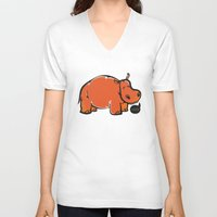 hippo V-neck T-shirts featuring Hippo by ILINDESIGNS