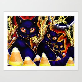 Three Halloween Cats Art Print