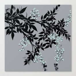 TREE BRANCHES BLACK AND GRAY WITH BLUE BERRIES Canvas Print