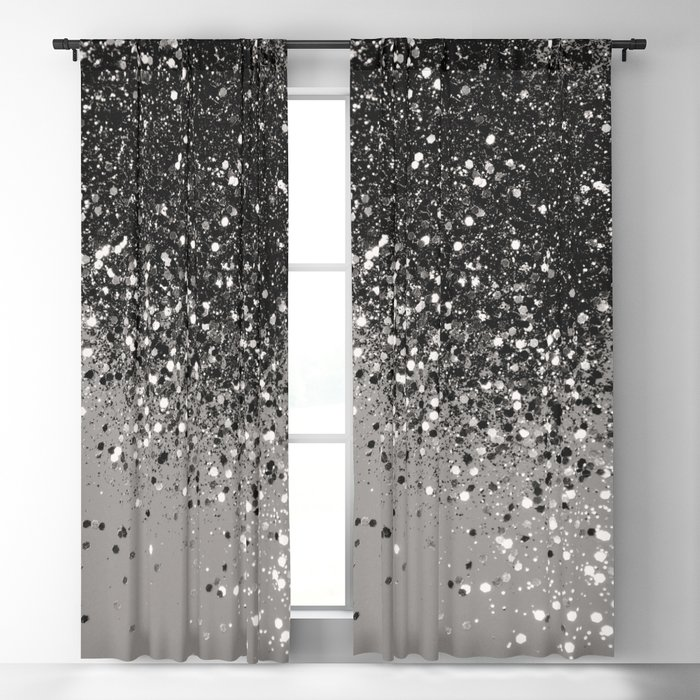 Silver Gray Glitter 1 Shiny Decor Art Society6 Blackout Curtain
