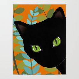 Black Kitty Cat In The Garden Poster