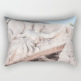 European City Ruins | Ephesus Carved Statue Rock Muted Baby Blue Tan Colors Historical Wanderlust Rectangular Pillow