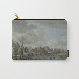Aert Van Der Neer - A Frozen River Near A Village, With Golfers And Skaters Carry-All Pouch