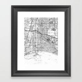 Vintage Map of Long Beach California (1964) BW Framed Art Print
