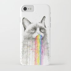 Grumpy Rainbow Cat Watercolor Animal Meme Geek Art iPhone 7 Slim Case