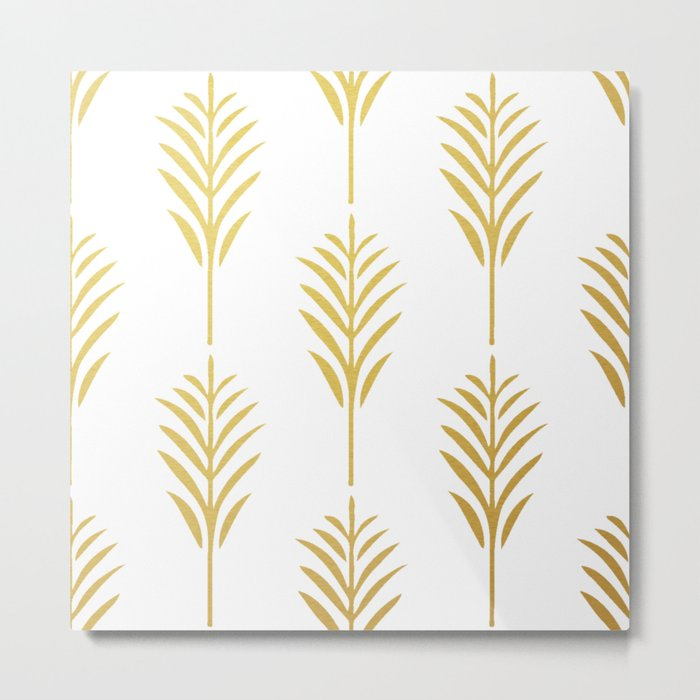 Golden Palm Leaves on White Metal Print