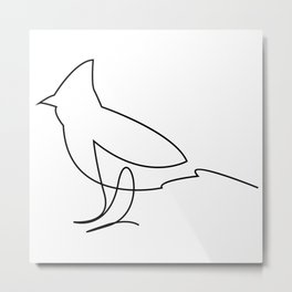 One Line Bird Metal Print