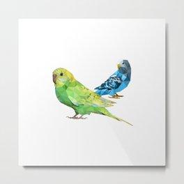 Geometric green and blue parakeets Metal Print