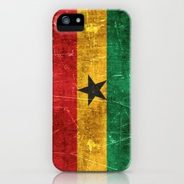 Vintage Aged and Scratched Ghana Flag iPhone Case
