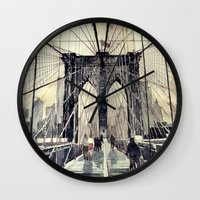 brooklyn bridge Wall Clocks featuring Brooklyn Bridge by takmaj