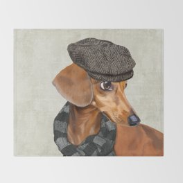 Elegant Mr. Dachshund Throw Blanket