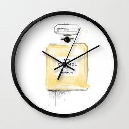 Perfume bottle fashion yellow Wall Clock