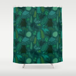PNW Forest in Emerald Green Shower Curtain