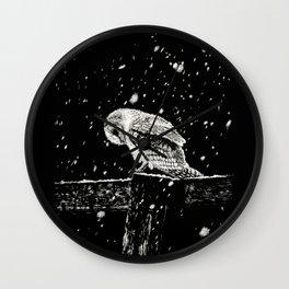 Snowfall at Night (Owl) Wall Clock
