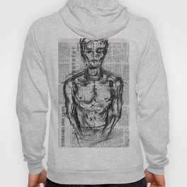 Strategy - Charcoal on Newspaper Figure Drawing Hoody