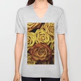 Golden Yellow Roses Pattern (Color) Unisex V-Neck
