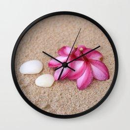 Flowers and Cockleshells on Sand Wall Clock