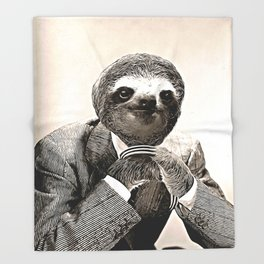 Gentleman Sloth with Assorted Pose Throw Blanket