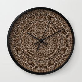 Brown colors mandala Sophisticated ornament Wall Clock