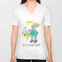 robot V-neck T-shirts featuring Robot by Elisandra