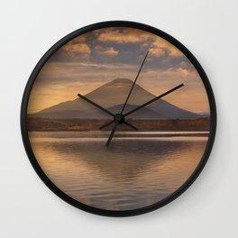 Mount Fuji and Lake Shoji in Japan at sunrise Wall Clock