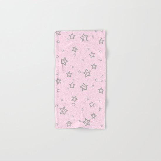 Grey little stars on pink backround Hand & Bath Towel