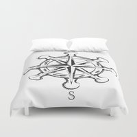compass Duvet Covers featuring Compass by Mady Guzman