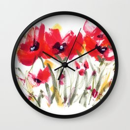 Red Poppy Graphic Wall Clock