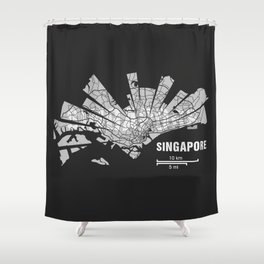 Singapore Map Shower Curtain
