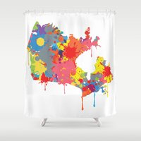 canada Shower Curtains featuring Canada map by ArtisanObscure Prints