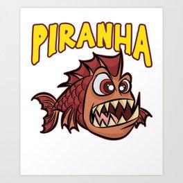 ANGRY PIRANHA Fish Scarry Red Cartoon Gift Art Print