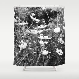 Cosmos flowers  are freely flowering - Black and White Photography Shower Curtain