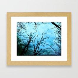 Aqua Skies Tree and Stars A163 Framed Art Print
