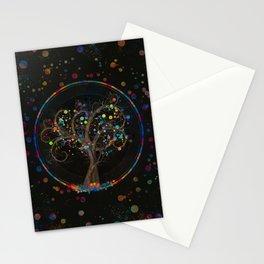 Golden Spiral Tree Color Paint Splatter #1 Stationery Cards