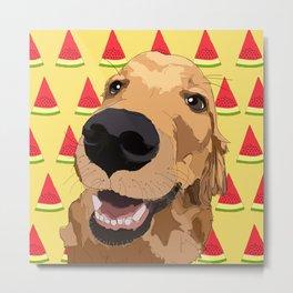 Golden Retriever Dog-Watermelon Metal Print