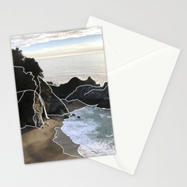 Line Series - McWay Falls, Big Sur, CA Stationery Cards