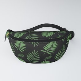 Tropical Leaves black backgound Fanny Pack