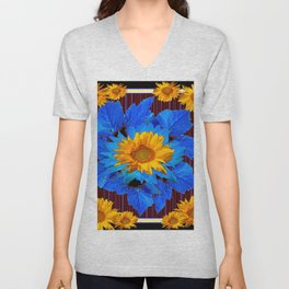 Decorative Sunflower Patterns Blue Leaves Unisex V-Neck
