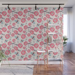 Honey Bees on Coral Pink Flowers Wall Mural