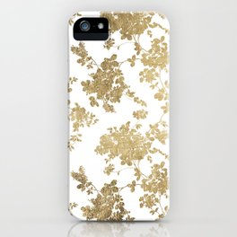 Girly elegant white faux gold vintage floral iPhone Case