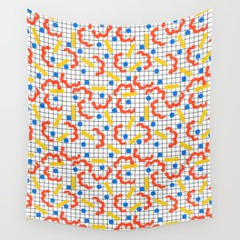 Primal - memphis throwback squiggle circle geometric grid lines dots trendy hipster 80s retro cool Wall Tapestry