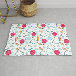 Clouds and Rainbow Pattern Rug