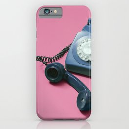 Blue Rotary Phone with Lifted Headset on Pink iPhone Case