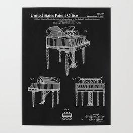 Piano Patent - Black Poster