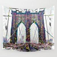 brooklyn bridge Wall Tapestries featuring brooklyn bridge by Vector Art