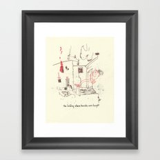 The building where karate was taught Framed Art Print