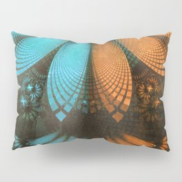 Shikoba Fractal -- Beautiful Leather, Feathers, and Turquoise Pillow Sham