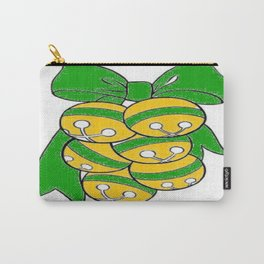 Gold Sleigh Bells With A Green Bow Carry-All Pouch