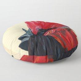 Rooster in Gouache Floor Pillow