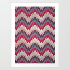 Chevron pattern_purple, blue and pink Art Print